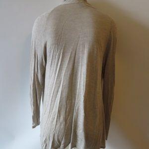 LILLIA P Sweaters - LILLIA P TAUPE GRAY HEATHERED VISCOSE CARDIGAN S